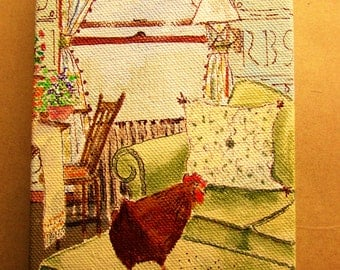original painting on canvas of chicken on a couch