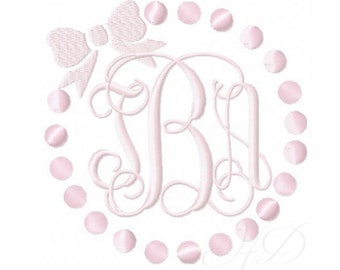 Pearl and Bow Embroidery Design Monogram Lace Circle Frame BX Instant download PES  4x4 5x7 6x10