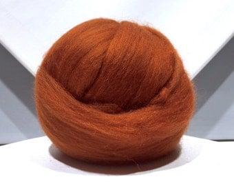 Fox red merino roving, spinning fiber, merino wool, needle felting wool, brick red, brown red, nutmeg brown, copper, free samples