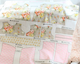 """Riley Blake Wiltshire Daisy  Pink  1/2 yard panel for 18"""" doll outfit Waldorf dolls or American Girl"""