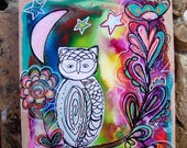 White Owl with Flowers / Mixed Media Painting on Wood