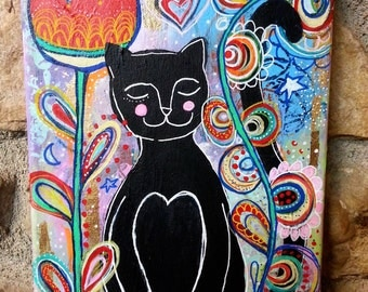 Black Cat Red Tulip / Mixed Media Painting