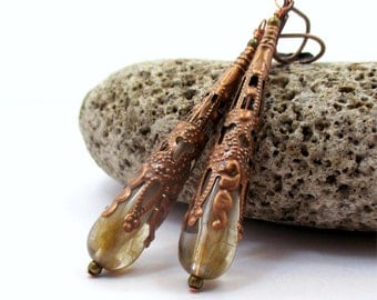 Antique Copper Filigree Cone Earrings. Long Yellow Vintage Lucite. Handcrafted Vintage Jewellery. Costume Jewelry by Sparklingtwi - QAWAYA
