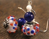 Red, white and blue lamp work glass beads, quartz stone and silver handmade drop earrings