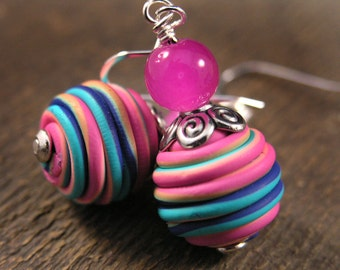 Rainbow swirl polymer clay beads, hot pink glass, silver handmade earrings