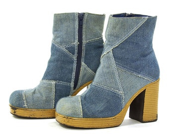 90s Patchwork Denim Boots / 1990s Clueless Chunky Platform Ankle Boots / Club Kid Raver Boho Rocker Zip Up Jeans Boots / Women's Size 6.5