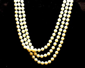 Faux AVON Pearl Necklace, 56 Inch Faux Pearl Necklace, Vintage Pearl Necklace, 1980 Faux White Pearl Necklace, AVON Necklace, Gift For Her