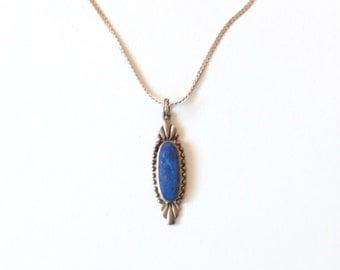 Vintage Lapis Stone & Sterling Necklace