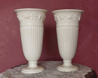 "Pair 11"" Wedgwood Queensware Trumpet Vases, White Embossed Grape & Vine Pattern, Cottage Chic Home Decor"