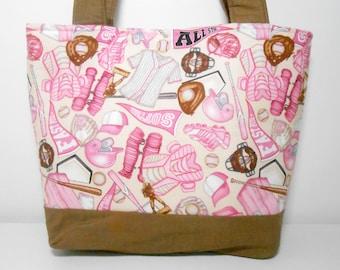 Softball Tote Bag with Pockets, Medium Purse Pink and Brown, Girl tote Bag Softball