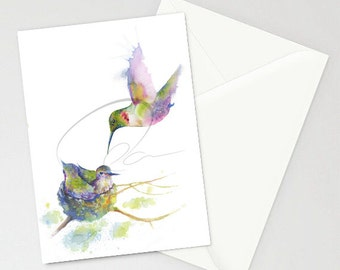 Greeting Cards - HUMMING - Humming Bird, Nest, Mother Bird, Nature, Nurturing, Feeding, Watercolor Art Painting