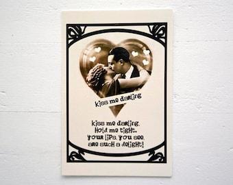 Romantic Postcard Kiss Me Darling Valentine LOVE Romance by RememberMeEmily