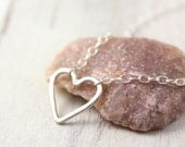 Bright Silver Forged Heart Necklace