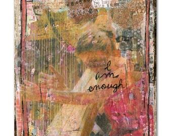 musical art | music artwork | music art | musician painting | Harpist | art PRINT | collage art | gift for musician music lover | pink brown