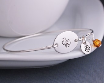 Bee Bracelet, Personalized Bumble Bee Jewelry, Gift for Gardener, Bee Jewelry, Gardening