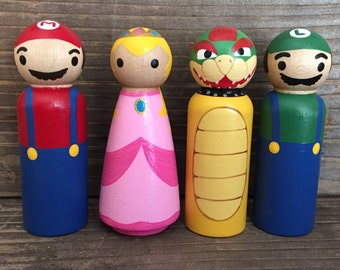 Super Mario Brothers- Mario, Luigi, Princess Peach, and Bowser