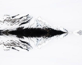 "Mountain Photo, Minimalist Winter Landscape Photography, Modern Nature Print, Black and White Wall Art ""Northern Reflections"""