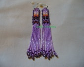 Native American loomed Prayer Feather Earrings in Lavender and Purple