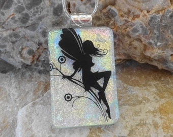 Fused Glass Fairy Pendant, Dichroic Fused Glass Pendant ,Fantasy Jewelry,  Dichroic Glass Pendant, White Glass Pendant, Image Pendant