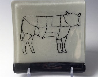 Cow Fused Glass Catch-all Dish