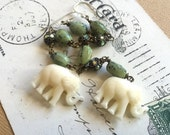 Dance of the Elephant Canadian Jade Long Drop Shoulder Duster Earrings