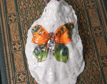 50% off Oyster Shell Decoupage Ornament/butterfly/holiday