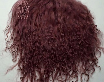 Tibetan Lamb Hair - Burgundy - S piece BUR - For Art Dolls OOAK