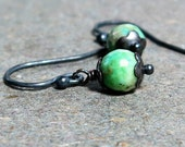 Green Chrysoprase Earrings Petite Earrings Minimalist Earrings Oxidized Sterling Silver Earrings
