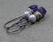 Purple Amethyst Earrings Geometric Jewelry February Birthstone Earrings Lavender Pearl Earrings Oxidized Sterling Silver Earrings