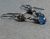 Kyanite Earrings Tribal Jewelry Oxidized Sterling Silver Earrings Gemstone Dangle Earrings Gift for Wife