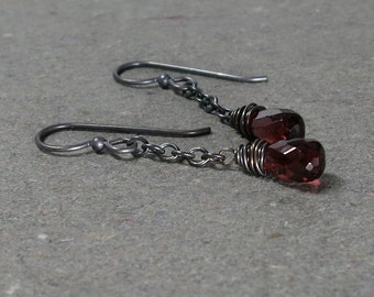 Garnet Dangle Earrings January Birthstone Oxidized Sterling Silver Chain Earrings
