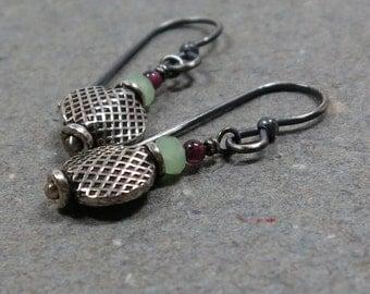 Sterling Silver Earrings Garnet Earrings Mint Green Chalcedony Earrings Oxidized Earrings Beaded Earrings