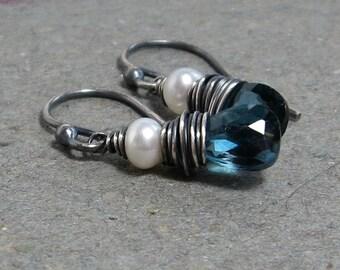London Blue Topaz Earrings White Pearl Earrings December Birthstone Earrings Oxidized Sterling Silver Earrings