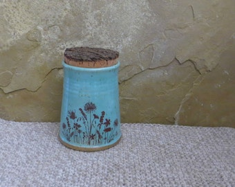Mini Canister Storage Container - Handmade Stoneware Ceramic Pottery - Blue Celadon and White - Wildflowers  - 12 ounces
