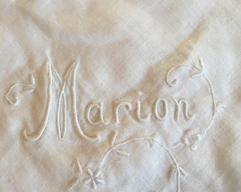 Vintage hanky, Marion embroidered