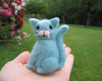 Kawaii Felted Blue Cat Kitty Needle Felted Figure