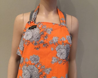 Womens Apron Full Apron Orange with White Flowers