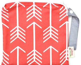 Small 9 x 9 Wet bag / Snack / Swim / Diapers / Coral Arrows Fabric  / SEALED SEAMS and Snap Strap