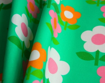 Retro 1960s Florals Collections Flower Trio on Jade - Fat Quarter 55cm x 50cm