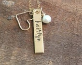 Personalized mom necklace-gold filled bar necklace with heart and pearl-hand stamped and custom