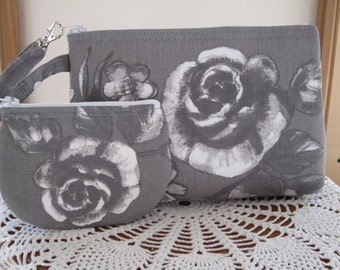 Shabby Chic Cottage Roses on Gray Smart phone Case Gadget Pouch Clutch Wristlet Zipper Gadget Pouch Bag  Made in USA Set