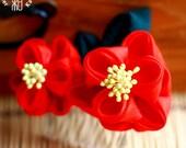 RESERVED - Double Layered Red Tsubaki (Camellia) Tsumami Kanzashi Comb