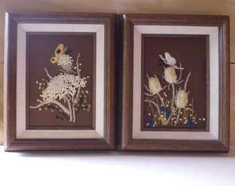 Two Vintage Framed Embroidery Crewel, Butterflies Meadow Flowers