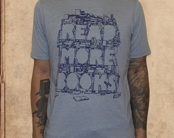 Read More Books - light blue -poly cotton - waterbase inks - literature