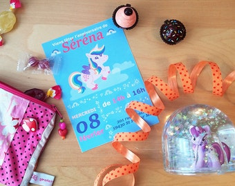 Invitation d'anniversaire licorne- personnalisable - anniversaire fille