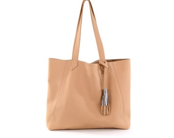 June Tote- Camel Leather