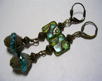 Picasso Czech Glass Aqua and Green Earrings in Bronze Leverback Hooks Wire Wraped Dangle Earrings Gifts under 5
