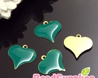 CH-EX-08138TG-  Raw Brass,Dangling heart charm,teal green, 6 pcs