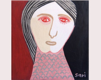 GIRL FACE / Original  Painting  Raw Abstract Red  Pink Figurative Art  - by Sari  - 1344