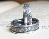 Feather Patterned Wedding Band Set Paisely Wedding Rings Sterling Silver Wedding Set